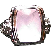 ESTATE Judith Ripka Sterling Silver Pink Rose Quartz & Diamonique Lg Ring Sz 8