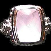 ESTATE Judith Ripka Sterling Silver Pink Rose Quartz & Diamonique Lg Ring Sz 8