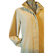 NICE Vintage 1990's Burberrys of London Womens Camel Microfiber Nova Check Coat Med