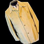 Halston Vintage 1970's Ultra Suede Halsuede Mens Leisure Jacket Blazer Camel Lg