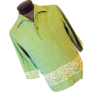 Vintage 1970's Iolani Hawaii Mens Green Aloha Flower Power Hippie Shirt Med