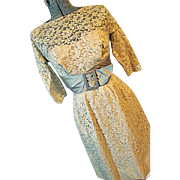 Vintage 1950's Jane Andre Calif Womens Ecru Lace Party Dress Russells Sm