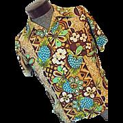 1960's Kamawhanee Hand Screened Hawaiian Mens Shirt M Rayon Pineapple