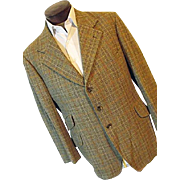 Vintage Pytchley Phillips & Piper Ltd England Mens Brown Plaid Tweed Blazer