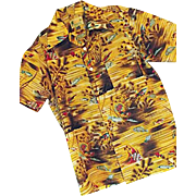 1970's Waikiki 76 Mens Gold Polyester Hawaiian Shirt S Tropical Fish