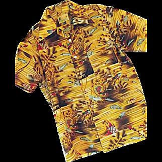 1970's Waikiki 76 Mens Gold Polyester Hawaiian Shirt S Tropical Fish