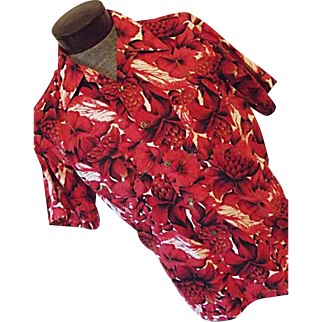 Vintage Waikiki Wear Duke Hollywood Mens Red Floral Sanforized Hawaiian Shirt