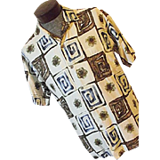 Vintage 1960's Andrade by Malia Hawaiian Mens Shirt L Camp Lounge Op Art