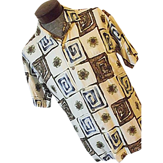 Vintage 1960's Andrade by Malia Hawaiian Mens Shirt L Camp Lounge Op Art