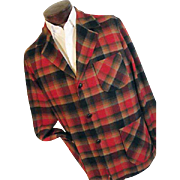 Vintage Pendleton Mens 49er Jacket 100% Pure Wool Red Black Shadow Plaid Med
