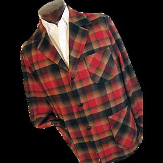 Vintage Pendleton Mens 49er Jacket 100% Pure Wool Red Black Shadow Plaid Med