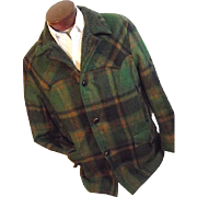 ROCKABILLY Vintage Pioneer Wear Mens Western Car Coat Green Plaid Wool Bld