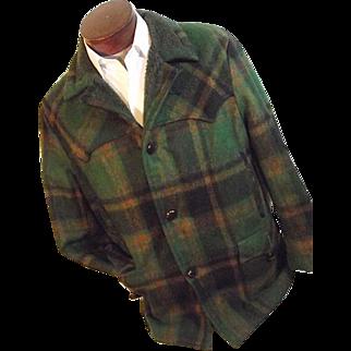 ROCKABILLY Vintage Pioneer Wear Mens Western Car Coat Green Plaid Wool Bld