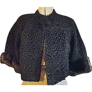 Vintage Faux Black Curly Persian Lamp With Mink Cuffs Stroller Coat Jacket Small