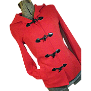 FANTASTIC Vintage Butte Knit Womens Red Hooded Jacket Black Toggle Buttons S M