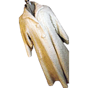 FANTASTIC Vintage Strawberry Studio England Womens Mohair Bld Swing Coat 12 Lg Ivory