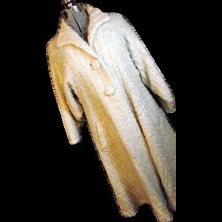 FANTASTIC Vintage Strawberry Studio England Womens Mohair Bld Swing Coat 12 Lg Ivory