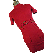 CUTE Vintage 1960's Womens Red Mini Dress Go-Go High Neck Belted Small