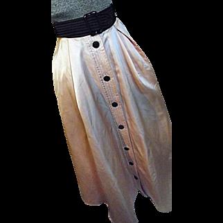 LOVELY Vintage Valentino Night Italy Womens Heavy Pink Satin Maxi Skirt Sm Med Black