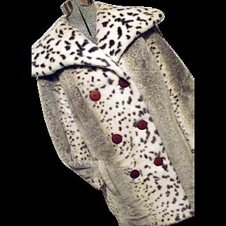 MOD Collins Aikman 1960's Womens Snow Leopard Faux Fur Coat WIDE Collar M L