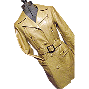 MOD GOGO Womens 1960's Yellow Faux Leather Dress Trench Coat Juli de Roma