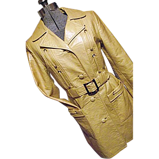 MOD GOGO Womens 1960's Yellow Faux Leather Dress Trench Coat Juli de Roma