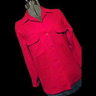 Vintage NOS Pendleton Womens 100% Virgin Wool Board Shirt L Red Lumberjack