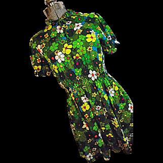 COOL MOD Vtg 1960's 1970's Womens Green Flower Power Mini Dress Medium