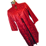 ELEGANT CUSTOM Womens Red Silk Cheongsam Vintage Dress W/ Matching Lined Coat S M