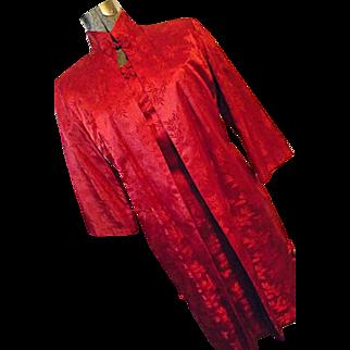 ELEGANT CUSTOM Womens Red Silk Cheongsam Vintage Dress W/ Matching Lined Coat S M