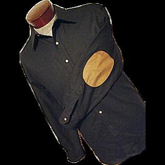 EXCELLENT Vintage Pendleton 100% Wool Mens Trail Shirt M Black Elbow Patches