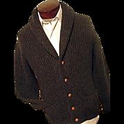 RARE Vintage Pringle of Scotland Mens Cardigan Sweater 100% Wool Shawl Collar M L