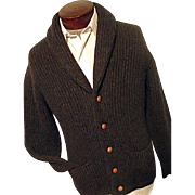 RARE Vintage Pringle of Scotland Mens Cardigan Sweater 100% Wool Shawl Collar M L
