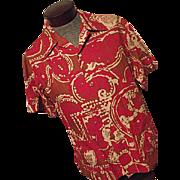 Vintage 1960's Malihini Mens Barkcloth Hawaiian Safari Shirt Jacket XL Rat Pack