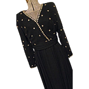 BEAUTIFUL Vintage Jack Bryan Womens Black Chiffon Beaded Party Dress M Embellished