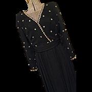 BEAUTIFUL Vintage Jack Bryan Womens Black Chiffon Beaded Party Dress M Embellished