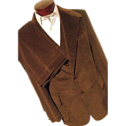 KILLER Vintage 1970's Levis Panatela Mens 3PC Suit Brown Corduroy 44L Long Jacket Vest Pants