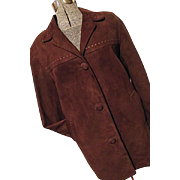 SOFT Vintage Confecciones JCX Womens Suede Leather Jacket 38 M Laced Chocolate Brown