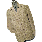NICE Vintage Freedom Wear Irish Tweed Womens Oatmeal 100% Wool Tweed & Knit Jacket Medium