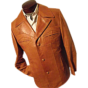 KILLER Vintage Robert Lewis Idea Mens 100% Lambskin Leather Jacket 42 Wide Lapel