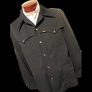 Vintage 197's  Lee Riders Mens Navy Blue Leisure Suit Jacket Polyester Western Lg