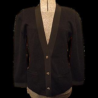 COUTURE Vintage Salvatore Ferragamo Womens Black Sweater L 100% Wool Grosgrain Trim