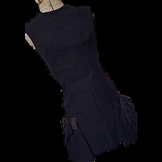 ADORABLE Vintage 1960's Mam'selle Betty Carol Women Little Black Party Dress 7 LG BOWS