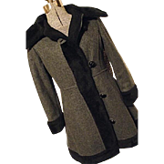 CUTE Vintage 1970's Valor Womens Wool Princess Coat Small Gray Black Faux Fu