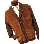 ATOMIC Vintage 1960's Mens Old Man Cardigan Sweater Jacket Brown Wool Knit Suede Leather
