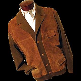 ATOMIC Vintage 1960's Mens Old Man Cardigan Sweater Jacket Brown Wool Knit Suede Leather