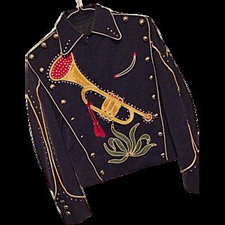 Vintage 1940s NATHAN TURK Mens Western Show Jacket Sm Rhinestones Embellished