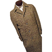 ATOMIC Vintage 1940's Fahey Brockman Mens Wool Overcoat Isle of Man Manx Tweed Coat Med