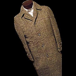 ATOMIC Vintage 1940's Fahey Brockman Mens Wool Overcoat Isle of Man Manx Tweed Coat Med