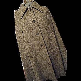 EXCELLENT Vintage Boru By Jimmy Hourihan Womens Brown Wool Tweed Cape Made in Ireland